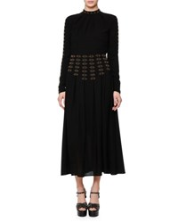 Valentino Studded Long Sleeve A Line Dress Black