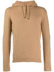 Roberto Collina Soft Knitted Hoodie Brown