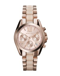 Mini Rose Golden Blush Stainless Steel Bradshaw Chronograph Watch Michael Kors