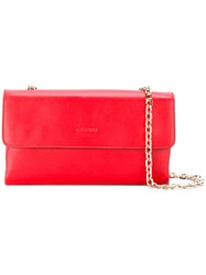 Casadei Chain Flap Bag Women Leather Satin One Size Red
