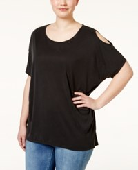 Ing Plus Size Solid Short Sleeve Cold Shoulder Top Black