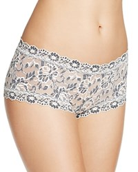 Hanky Panky Cross Dyed Lace Boy Short 591204 Ivory Coal