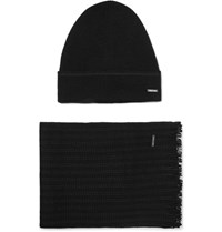 Hugo Boss Wool Blend Beanie And Scarf Set Black