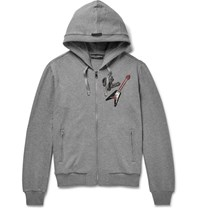 Dolce And Gabbana Appliqued Cotton Jersey Zip Up Hoodie Gray
