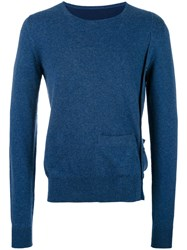 Maison Martin Margiela Side Button Crew Neck Sweater Blue