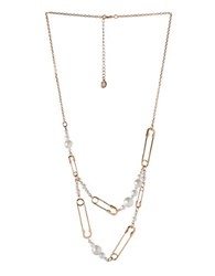 Bcbgeneration Pearl Group Faux Pearl And 12K Yellow Goldplated Safety Pin Necklace