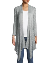 Chelsea And Theodore 3 4 Bell Sleeve Draped Lace Cardigan Gray
