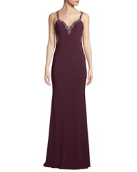 Faviana Embellished Open Back Jersey Gown Dark Red