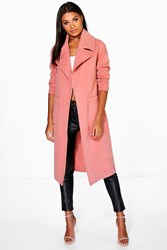 Boohoo Oversized Collar Wool Look Robe Coat Rose