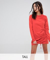 Noisy May Tall Ruched Jersey Dress Red