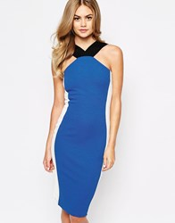 River Island Colour Block Bodycon Pencil Dress Bluewhite