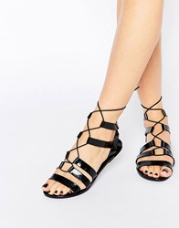 Call It Spring Saberrah Ghillie Laced Flat Sandal Black Synthetic