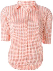 Issey Miyake Vintage Pleated Shortsleeved Shirt Pink And Purple