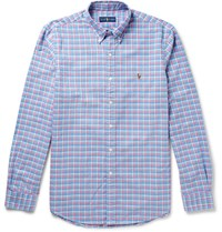 Polo Ralph Lauren Slim Fit Button Down Collar Checked Cotton Oxford Shirt Blue