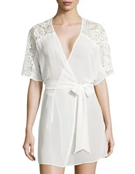 Flora Nikrooz Ivy Lace Trimmed Chiffon Short Robe Natural