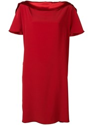 Gianluca Capannolo Satin Boat Neck Shift Dress Red