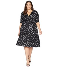 Kiyonna Gabriella Dress Retro Dot Floral Black