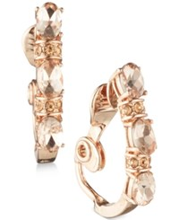 Anne Klein Crystal Clip On Hoop Earrings Rose Gold