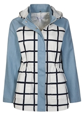 Finders Keepers Love To Loose Short Coat Check Print Petrol Blue