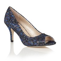 Lotus Anthea Glitter Lace Peep Toe Courts Blue