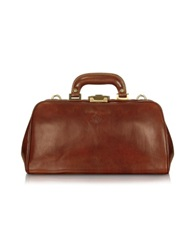 Chiarugi Handmade Brown Genuine Leather Doctor Bag Dark Brown