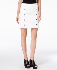 Michael Kors Petite Button Down Mini Skirt White