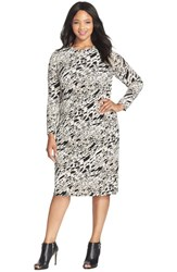 Plus Size Women's Vince Camuto 'Current Medley' Print Long Sleeve Dress