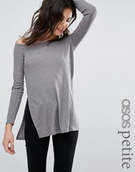 Asos Petite Off Shoulder Slouchy Top With Side Splits Grey