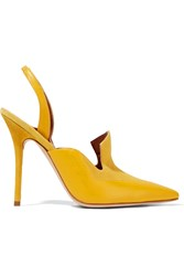 Malone Souliers Kira Suede And Leather Slingback Pumps Yellow