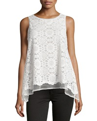 Max Studio Floral Lace Babydoll Tank Ivory
