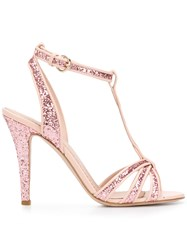 Red Valentino Glitter Mary Jane Sandals Pink And Purple