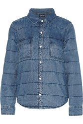 Splendid Quilted Chambray Jacket Blue