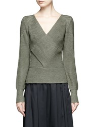 Tome Cutout Back Crossover Wool Sweater Green