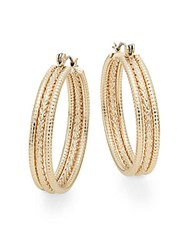 Ak Anne Klein Anne Klein 3 Row Hoop Earrings 1.5 Gold