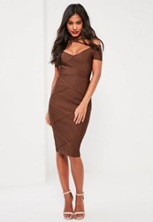 Missguided Brown Bandage Strap Detail Midi Dress Chocolate