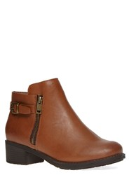 Evans Extra Wide Fit Tan Side Zip Ankle Boot Brown