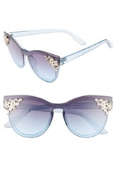 Leith 'S 52Mm Crystal Embellished Round Sunglasses Crystal Blue