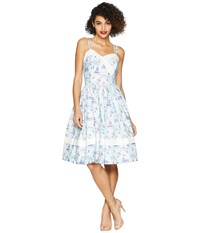 Unique Vintage Darienne Swing Dress Light Blue Sailboat Print Multi