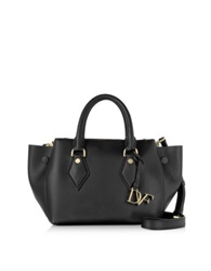 Diane Von Furstenberg Voyage Black Leather Double Zip Satchel