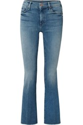 Mother The Weekender Fray High Rise Flared Jeans Blue