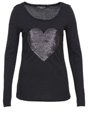 Hallhuber Sequin Heart Jersey Long Sleeve Black
