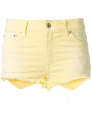 Dondup Denim Fitted Shorts Yellow And Orange