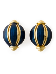 Helena Rubinstein Vintage Glass Ball Earrings Blue