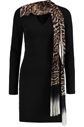Just Cavalli Leopard Print Georgette Paneled Stretch Cady Mini Dress