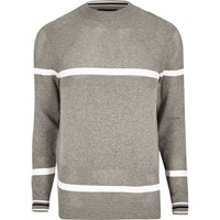 River Island Mens Grey Knit Mesh Panel Stripe Jumper