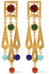 Ben Amun Gold Tone Bead Clip Earrings
