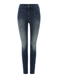 Armani Exchange Super Skinny High Rise Distressed Jean Denim Indigo