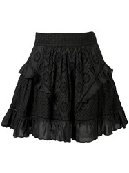 Twin Set Embroidered Mini Skirt Black