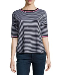 Belford Reversible Striped Pullover Top Pink White