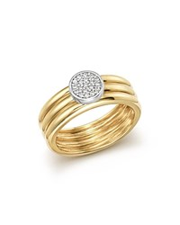 Bloomingdale's Diamond Pave Three Band Ring In 14K White And Yellow Gold .12 Ct. T.W. White Gold